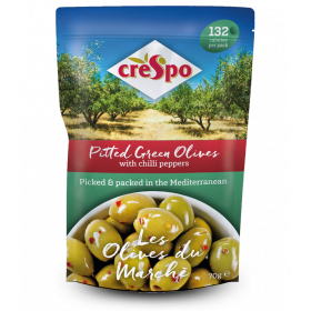 Crespo Green Olives~With Chilli 8x70g